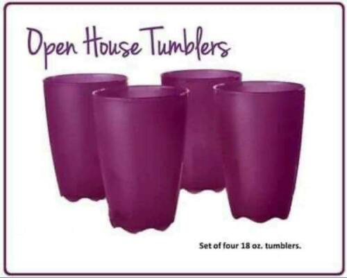 Tupperware Open House Tumblers 18 oz. Set of 4 Plum NEW