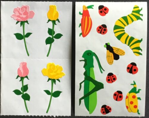 Vintage Mrs Grossman's Stickers - Bugs & Flowers - Dated 1990, 1995