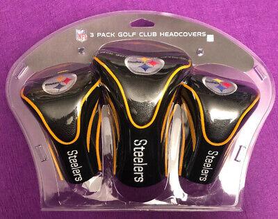 NFL Team Golf USA Contour Golf Club Headcovers 3pk (Pittsburgh Steelers) NEW Pittsburgh Steelers Golf Headcover
