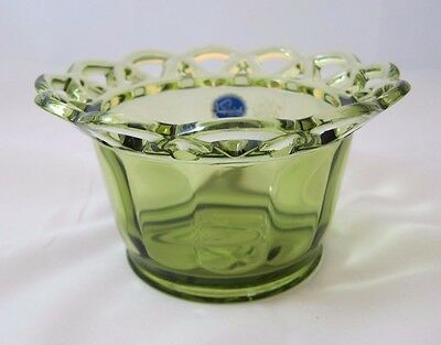 Vintage Green Glass Imperial Glass Lace Edge Bowl Vase