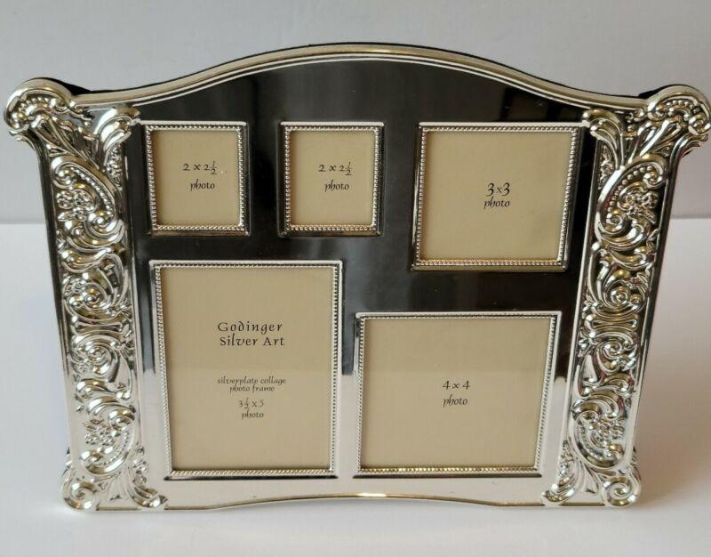 Godinger Silver Plate Art Collage  Picture 5 Photo Frame Velvet Backing