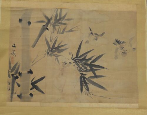 Antique Japanese Fine Sparrow Painting SCroll Watercolor Signed Buncho Edo Co
