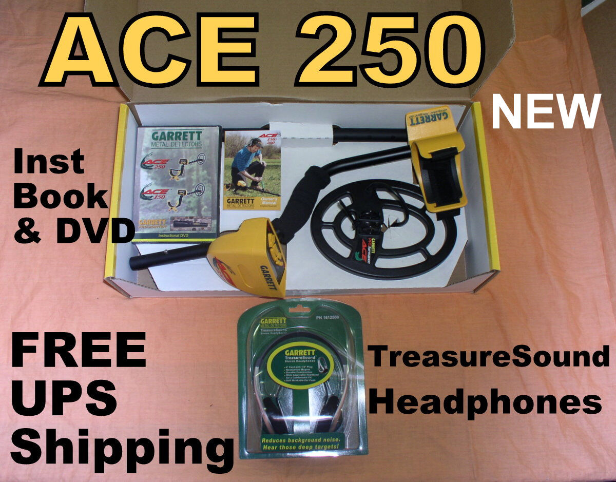 """NEW Garrett Metal Detector Ace 250 with 6.5x9""""Coil * Headphones * Free Shipping"""