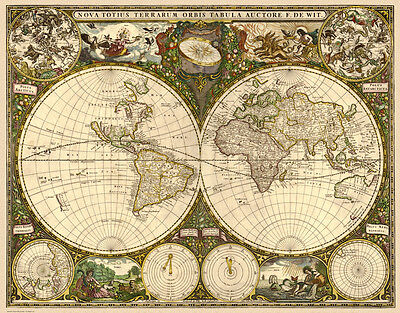 Old Map of the World in 1660 by Frederik de Wit - reproduction old map