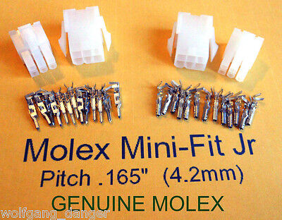 6 Circuit  Wire Connector  - 2 Complete Molex  conn.  w/ Pins    Mini-Fit Jr