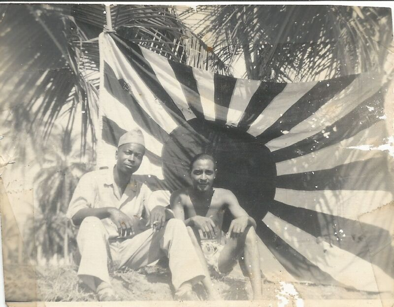 World War Two African-American Soldiers Posing With Captured Japan Flag Photo