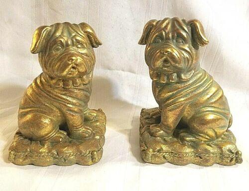 Gold Pug Dog Bookends Figurine Figure