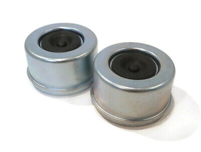 """(Pack of 2) Metal Grease Caps, 2.72"""", with Rubber Plugs for 5,000-8,000 lb Axles"""