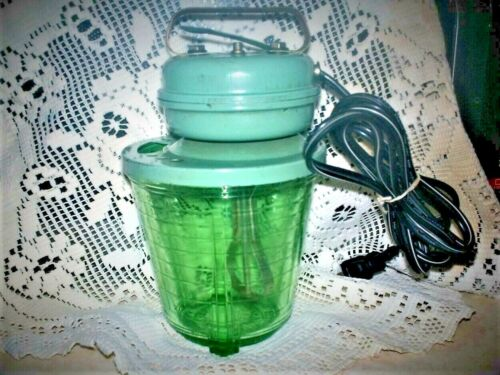 1935 VIDRIO PRODUCTS ELECTRIC MIXER EGG BEATER w/ PINT URANIUM GLASS BOWL ~WORKS