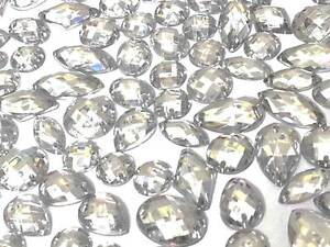 80 CLEAR Faceted Acrylic Sew On, Stick on DIAMANTE Crystal Rhinestone GEMS