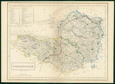 c1820 - Antique Map SOMERSETSHIRE Chapman Hall outline hand colour (CP12-M)