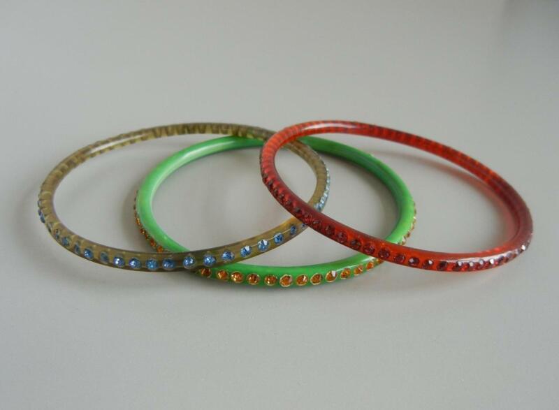 Vintage Art Deco Set 3 Bangle Bracelets Multicolor Celluloid Rhinestones