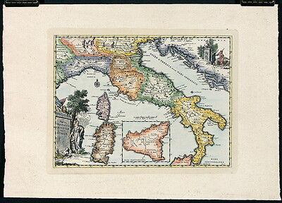 ALBRIZZI Mid 20thC c1950s-60s Repro Map CARTA GEOGRAFICA GENERALE DELL' ITALIA