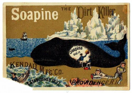 Soapine Whale Victorian Advertising Card