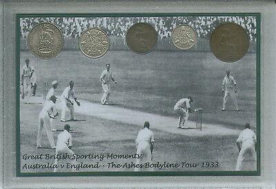 England Cricket The Bodyline Ashes Tour Series Australia Coin Fan Gift Set 1933