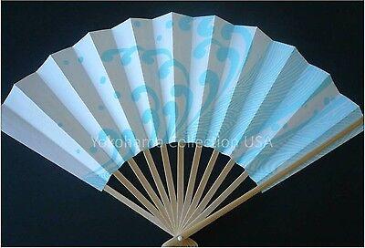 Japanese Geisha Odori Dance Hand Held SENSU Folding Fan Blue Wave/Made in Japan