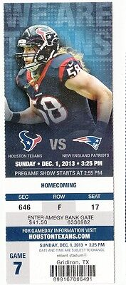2013 HOUSTON TEXANS VS NEW ENGLAND PATRIOTS TICKET STUB 12/1/14
