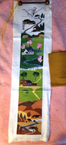 Vintage Needlepoint Wall Hanging Winter, Spring, Summer, Fall 8 X 34 Incomplete