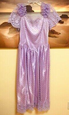 80s Dresses   Casual to Party Dresses Vintage 80's 1980's Purple Floral Lace Over Shoulder Midi Dress Gown Prom Retro $30.00 AT vintagedancer.com