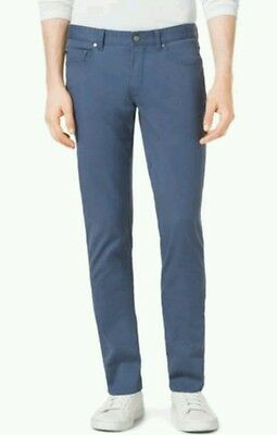 NEW MICHAEL KORS MENS Slim-Fit Five-Pocket Blue Chambray Jeans W36 L32