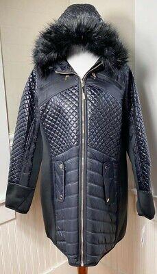 NWT MICHAEL Michael Kors Black Faux Fur Trim Hooded Coat Size 3X