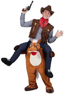Cowboy auf Pferd Huckepack Kostüm NEU - Damen Karneval Fasching Verkleidung Kost