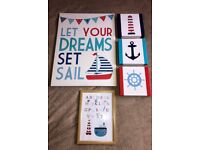 Boys bedroom pictures nautical sailboat wall canvases