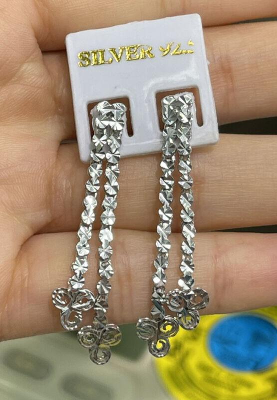 Pure 0.925 Silver Shiny Diamond Cut Dangle Stud Earrings. 4.30 Grams