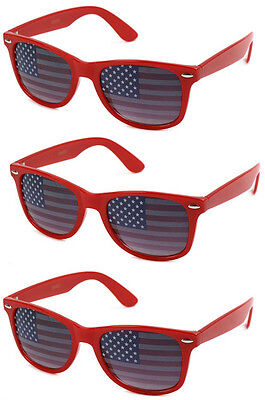 Wholesale Novelty Sunglasses (3 PAIRS American USA Flag US Sunglasses RED Patriotic United States Stars)