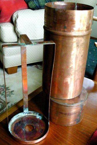 Vintage Copper Chemistry lab Laboratory Petri Dish canister w/ Rack Autoclave