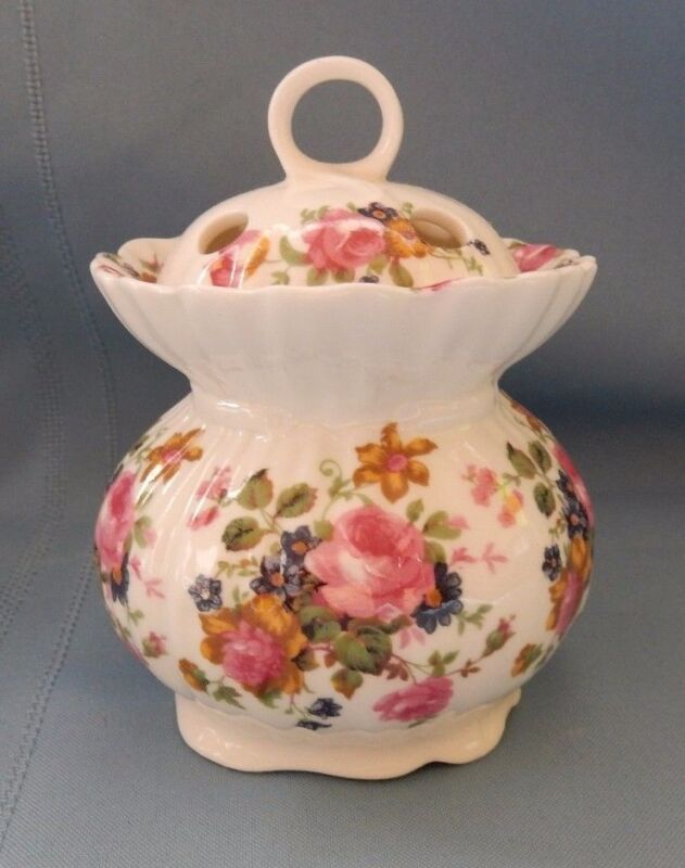 English Bone China Sugar Bowl with Lid Pink Rose Peony Blue Flowers England