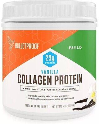 Bulletproof Collagen Protein Powder Vanilla 17.6 Oz Grass-Fed + XCT Oil.
