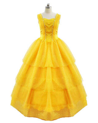 Belle Costume Womens (2017 Beauty and the Beast Ball Gown Dress Princess Belle Costume for Adult)