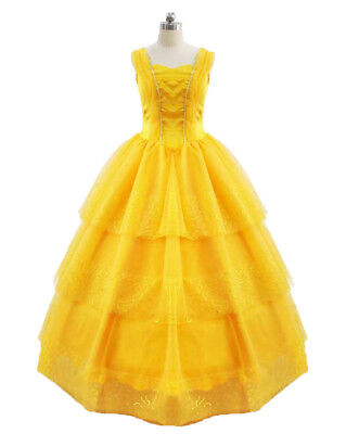 2017 Beauty and the Beast Ball Gown Dress Princess Belle Costume for Adult Women - Belle Dress For Women