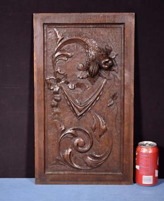 *Antique French Highly Carved Panel in Oak Wood Salvage w/Flowers, used for sale  Shipping to Canada