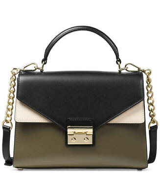 MICHAEL Michael Kors Medium Leather Top Handle Satchel Olive/Black, MSRP  $268