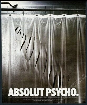 1998 Absolut Psycho movie shower curtain vodka bottle shape vintage print ad