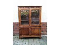 Solid Oak Old charm style / Priory bookcase cabinet; cupboard