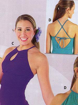 Ballroom Crisscross Halter Camisole Top Plum Ladies Sizes Matte Spandex