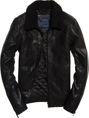 Superdry IE Iconic Sherpa Collar Leather Flight Jacket Size:Large Color:Black