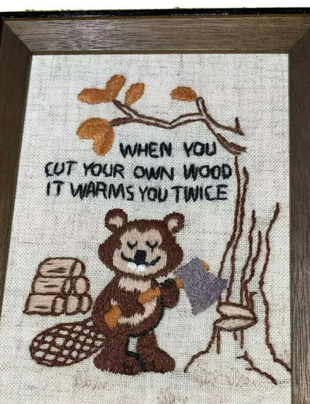 """""""When You Cut Your Own Wood It Warms You Twice"""" Wood Framed Needlepoint Art"""