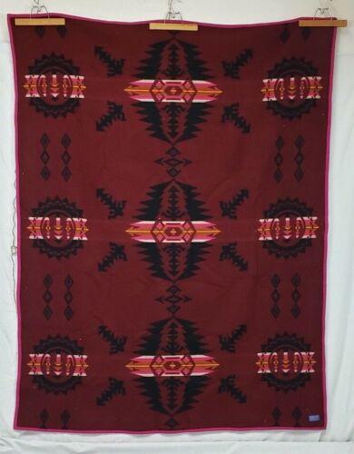 "PENDLETON Wool Blanket Beaver State Rare Pattern Maroon 60x78"" 1972-2020 Charity"