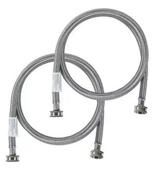 Stainless Steel Washing Machine 4' Set Inlet Fill Hoses with Washers -