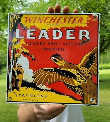 OLD VINTAGE WINCHESTER LEADER PORCELAIN ADVERTISIING AMMO GUN SIGN SHOT SHELLS