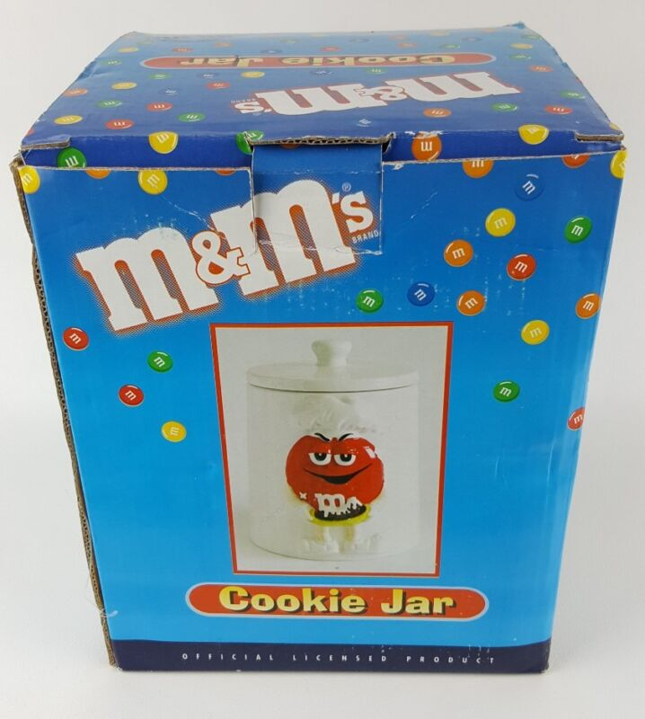 """Red M&Ms White Porcelain Cookie Jar Canister with Lid Green Chef 7.5"""" MnM"""