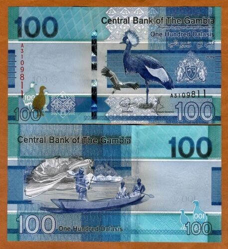 Gambia, 100 Dalasis, ND (2019), P-New, redesigned, A-Prefix, UNC > Bird
