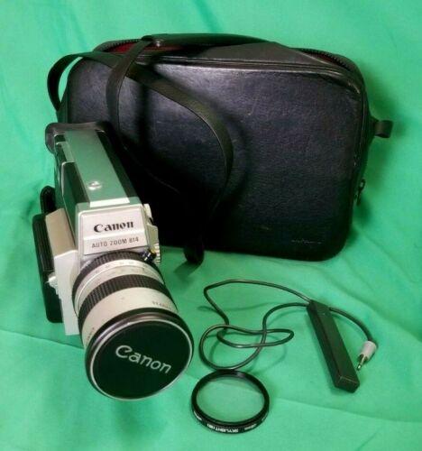 Vintage Canon Auto Zoom 814 Electronic Super 8 Film Movie Camera w/ Accessories