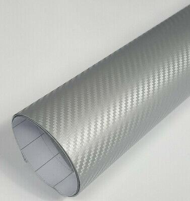 3D Carbon Folie Silber Auto Folie 7 meter x 1,52 meter mit Luftkanäle Autofolie