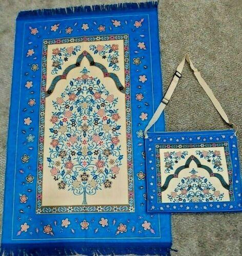 Muslim Prayer Rugs Janamaz Sajada, Salah Mat, Best Islamic Travel Mat - With Bag