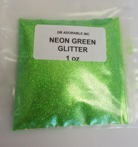 1 oz NEON GREEN GLITTER Craft Cosmetic Silk Microfine Glitter Powder Free Shipp